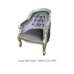 DECO PRIVE - fauteuil baroque velours gris et bois argente - Fauteuil Crapaud