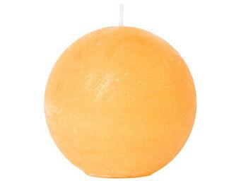 Athezza - bougie boule orange d8cm - Bougie Ronde