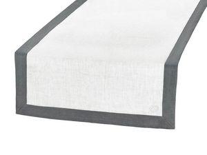 BLANC CERISE - vis-�-vis blanc et gris - lin d�perlant - bicolore - Chemin De Table