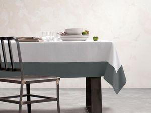 BLANC CERISE - nappe - blanc et gris - lin déperlant - unie, brod - Nappe Et Serviettes Assorties