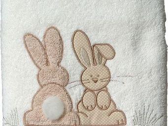 SIRETEX - SENSEI - carr� 100x100cm �ponge brod�e pompon le lapin - Serviette De Toilette Enfant