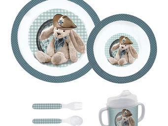 Orval Creations - coffret repas vichy bleu - Assiette Enfant