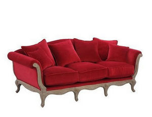 DECO PRIVE - canape baroque 3 places pompadour en velours color - Canap� 3 Places