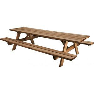 JARDIPOLYS - table de jardin bois 10 places avec bancs intégrés - Table Pique Nique