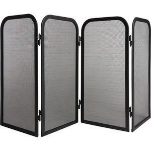 Aubry-Gaspard - pare-feu 4 panneaux en métal noir 100x51cm - Pare Feu