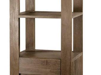 jardindeco - colonne 1 tiroir 1 porte en teck gris� 50x40x180cm - Colonne De Rangement Simple De Salle De Bains