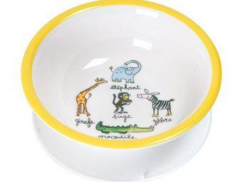 La Chaise Longue - bol jungle ventouse jaune - Assiette Bébé