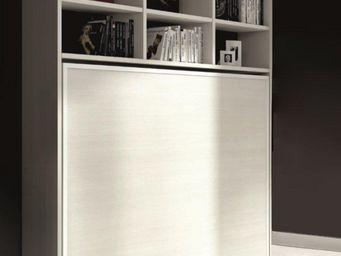 WHITE LABEL - armoire lit escamotable athena avec �tag�res, ch�n - Lit Escamotable
