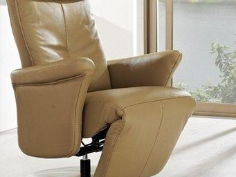 WHITE LABEL - adam fauteuil relax, cuir vachette taupe - Fauteuil De Relaxation