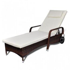 WHITE LABEL - transat fauteuil jardin marron 4 niveaux - Chaise Longue De Jardin