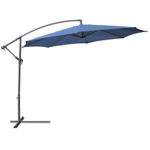 WHITE LABEL - parasol d�port� de 3,5 m bleu + housse - Parasol Excentr�