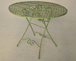 Demeure et Jardin - table de jardin en fer forgé collection chêne - Plateau