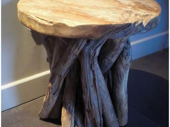 Mathi Design - table d'appoint en bois - Table Basse Ronde