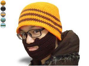 WHITE LABEL - drôle de bonnet à barbe orange, 3 rayures kaki fon - Bonnet