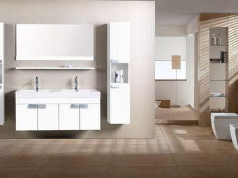 UsiRama.com - meuble salle de bain 2 vasques 1.2m laqué blanc - Meuble Double Vasque