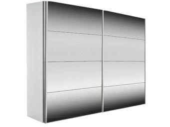 WHITE LABEL - dressing kick 252cm miroir et cadre blanc avec por - Armoire � Portes Coulissantes