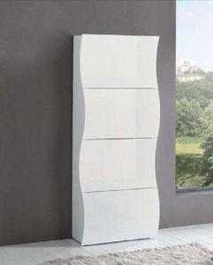 WHITE LABEL - meuble � chaussures onda blanc brillant 4 portes - Meuble � Chaussures