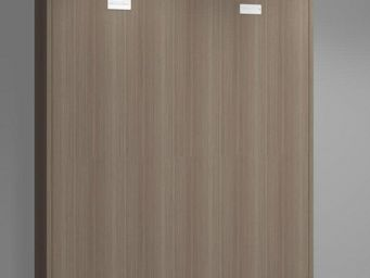 WHITE LABEL - armoire lit verticale agata noyer couchage 140*190 - Lit Escamotable