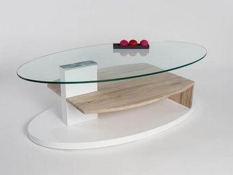 WHITE LABEL - table basse design aurora - Table Basse Ovale