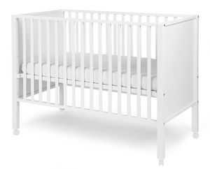 WHITE LABEL - lit bébé avec roulettes 60x120cm coloris blanc - Lit Pliant Bébé