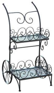 Aubry-Gaspard - chariot porte-pots en m�tal vieilli - Porte Pots De Jardin