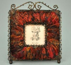 Demeure et Jardin - cadre photo carré rouge - Cadre