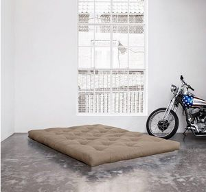 WHITE LABEL - matelas futon traditionnel taupe longueur couchage - Futon