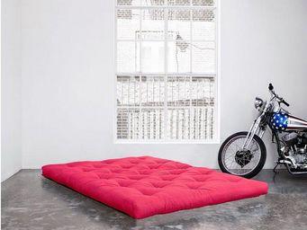 WHITE LABEL - matelas futon confort rose 90*200*15cm - Futon
