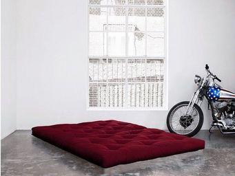 WHITE LABEL - matelas futon coco bordeaux 200*200*16cm - Futon
