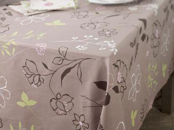 FLEUR DE SOLEIL - camélia taupe rose - Nappe Enduite