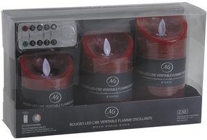 Aubry-Gaspard - coffret 3 bougies leds parfumées avec télécommande - Fausse Bougie Électrique