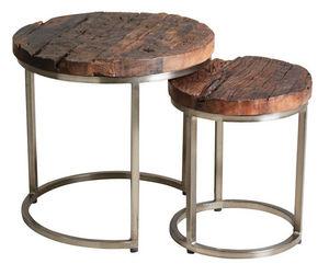 AUBRY GASPARD - set 2 tables gigognes en acier et bois massif - Tables Gigognes