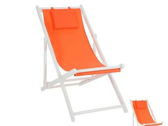 WHITE LABEL - duo de chiliennes pliantes orange - gipsy - l 58 x - Transat
