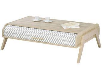 WHITE LABEL - table basse à rideau - arkos n°4 - l 119 x l 80 x - Table Basse Rectangulaire