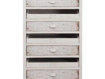 WHITE LABEL - chiffonnier blanc 7 tiroirs - arielle - l 66 x l 4 - Semainier