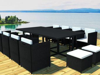 WHITE LABEL - table + fauteuils + poufs noir - borabora - l 235 - Salle À Manger De Jardin