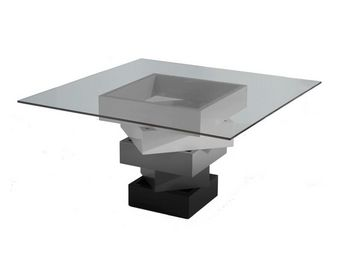 WHITE LABEL - table de repas carrée gris - kart - l 140 x l 140 - Table De Repas Carrée