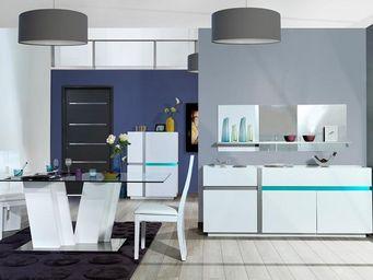 WHITE LABEL - salle à manger complète - krys - 200 x l 100 x h 7 - Salle À Manger