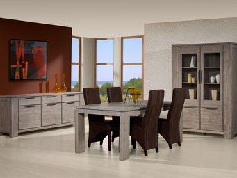 WHITE LABEL - salle à manger complète - trias - l 200 x l 100 x - Salle À Manger