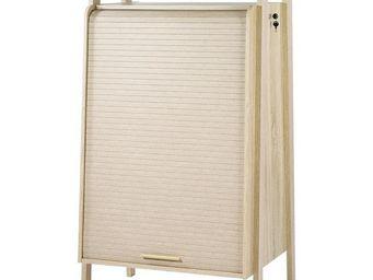 WHITE LABEL - armoire informatique à rideau - arkos n°6 - l 77 x - Armoire De Bureau