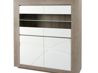 WHITE LABEL - vaisselier avec vitrine - swim - l 150 x l 45 x h - Vaisselier