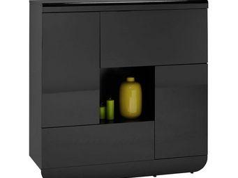 WHITE LABEL - vaisselier 2 portes 2 abattants noir - fily - l 12 - Vaisselier