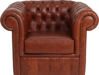 WHITE LABEL - fauteuil cuir marron clair suspension sangles - ch - Fauteuil Chesterfield