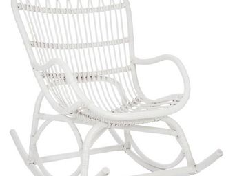 WHITE LABEL - rocking chair rotin blanc - ricky - l 110 x l 66 x - Rocking Chair