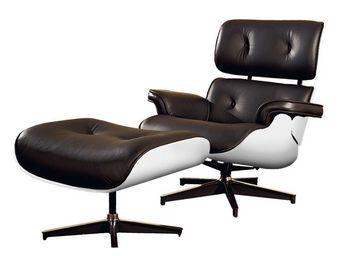WHITE LABEL - fauteuil cuir noir/blanc - evans - l 79 x l 81 x h - Fauteuil Et Pouf