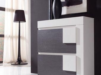 WHITE LABEL - meuble à chaussures blanc/cendre - caria - l 90 x - Meuble À Chaussures