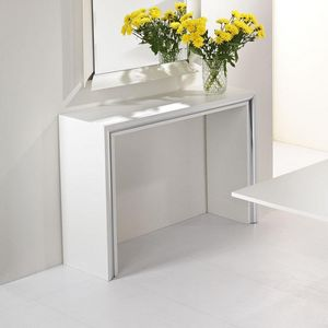 WHITE LABEL - console design archimede chêne blanc - Console Extensible
