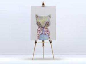 la Magie dans l'Image - toile mon petit renard rose - Impression Numérique Sur Toile