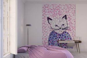 la Magie dans l'Image - grande fresque murale mon petit chat fond rose - Papier Peint Panoramique