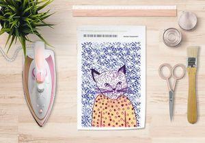 la Magie dans l'Image - papier transfert mon petit chat fond bleu - Transfert